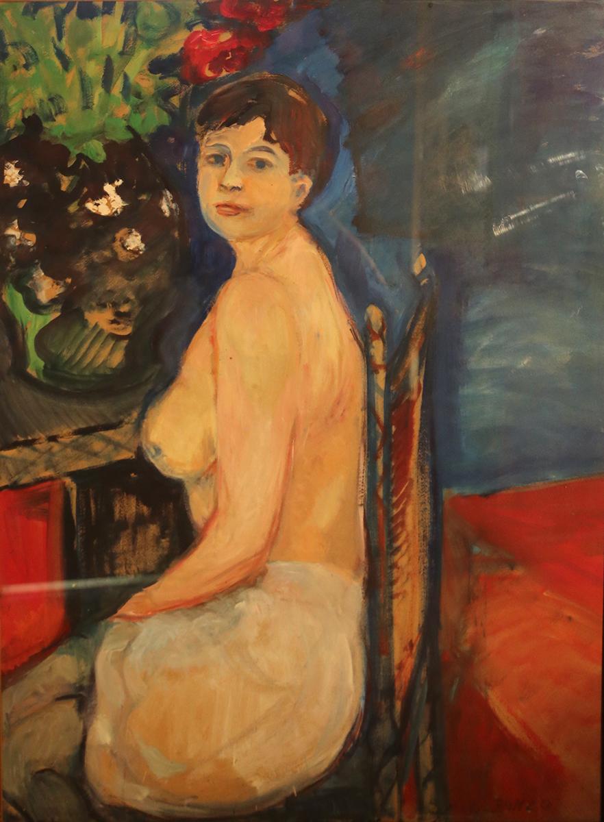 """""""Annie assise"""", huile sur carton, 108x80 cm, 1961."""