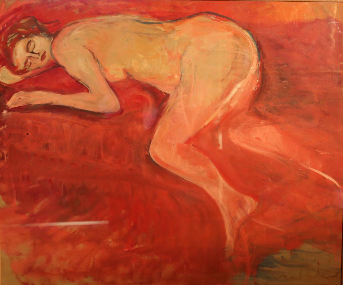 """""""Annie sur fond rouge"""", huile sur carton, 90 x 108 cm, 1961."""