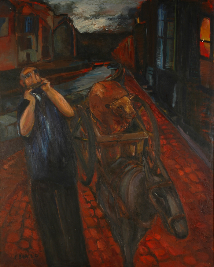 """La Charrette, huile sur toile, 166 x 134 cm, 1954."