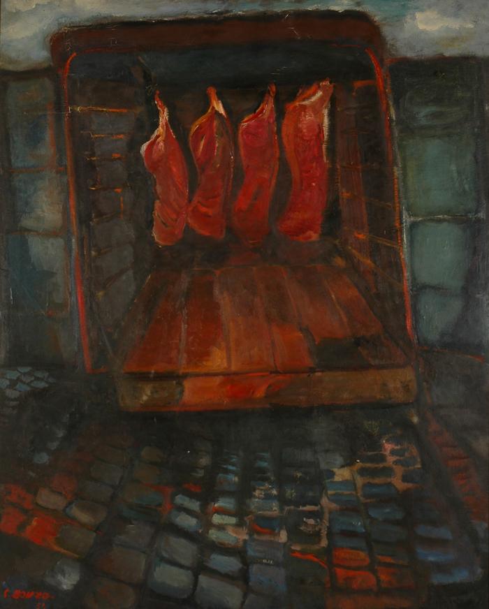 """""""Le Camion de viande"""", huile sur toile, 166 x 134 cm, 1954."""