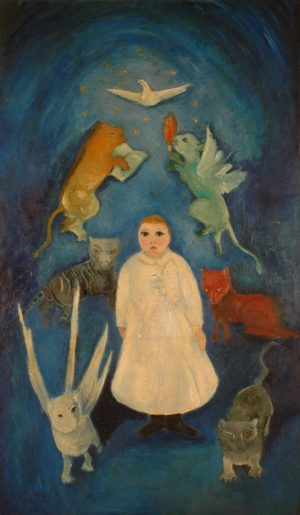 """""""L'Enfant blanc"""", huile sur toile, 200 x 120 cm, 1950."""