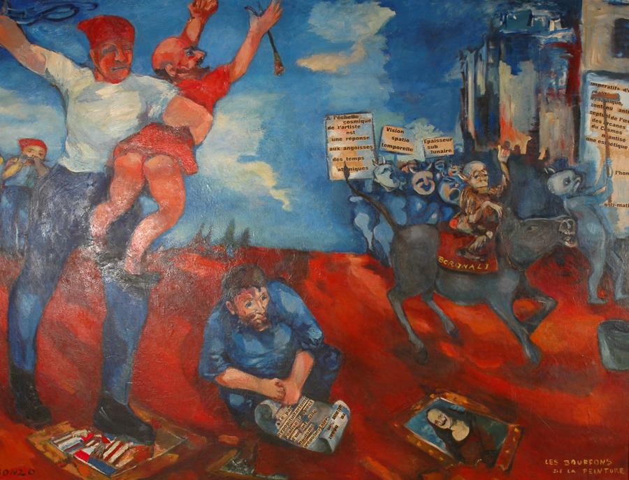 """""""Les Bouffons de la peinture"""" (détail), huile sur toile, 220 x 300 cm, 1962."""