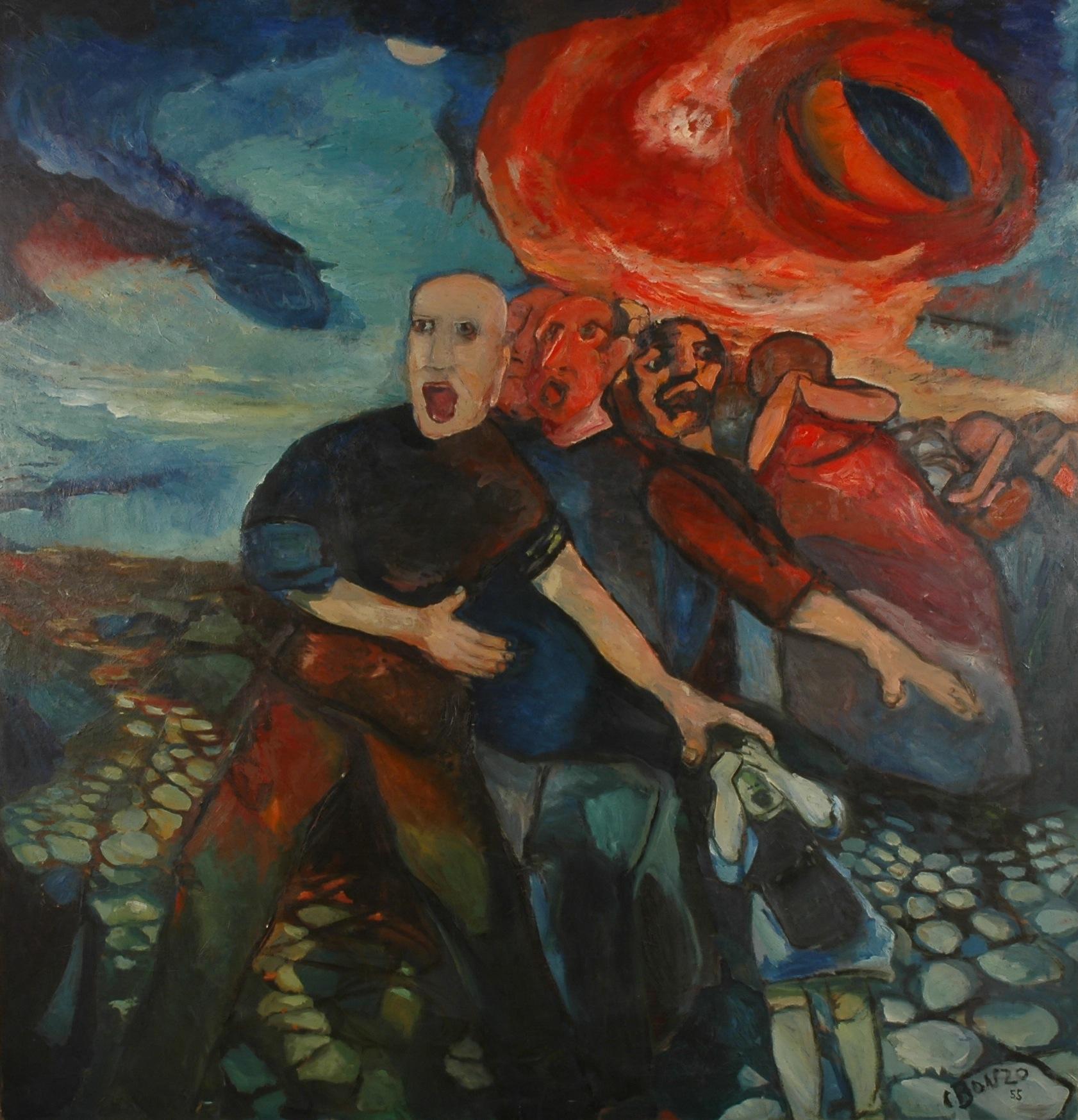 """""""Le Cataclysme"""", huile sur toile, 200 x 200 cm, 1956. Château-Musée de Tournon-sur-Rhône."""