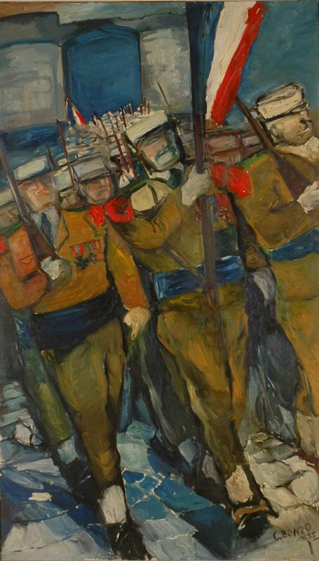 """Colette Bonzo, """"Entrée dans une ville prise""""(1955), huile sur toile, 200 x 120 cm, 2018."""