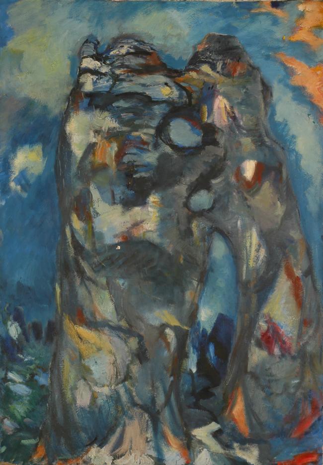 """""""L'Ours et le lion"""", huile sur toile, 200 x 130 cm, 1964."""