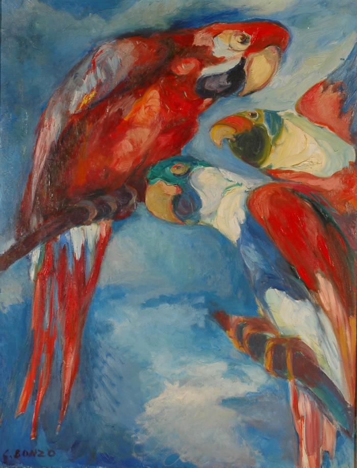 """""""Les grands aras"""", huile sur toile, 115 x 89 cm, 1962."""