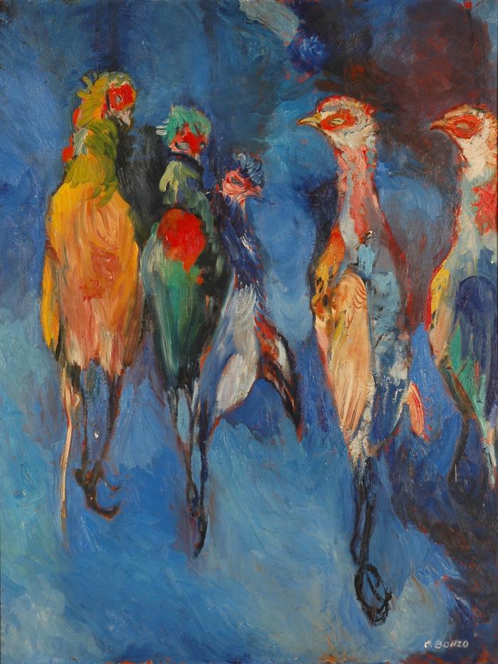 """""""Les Faisans pendus"""", huile sur toile, 16 x 89 cm, 1962."""