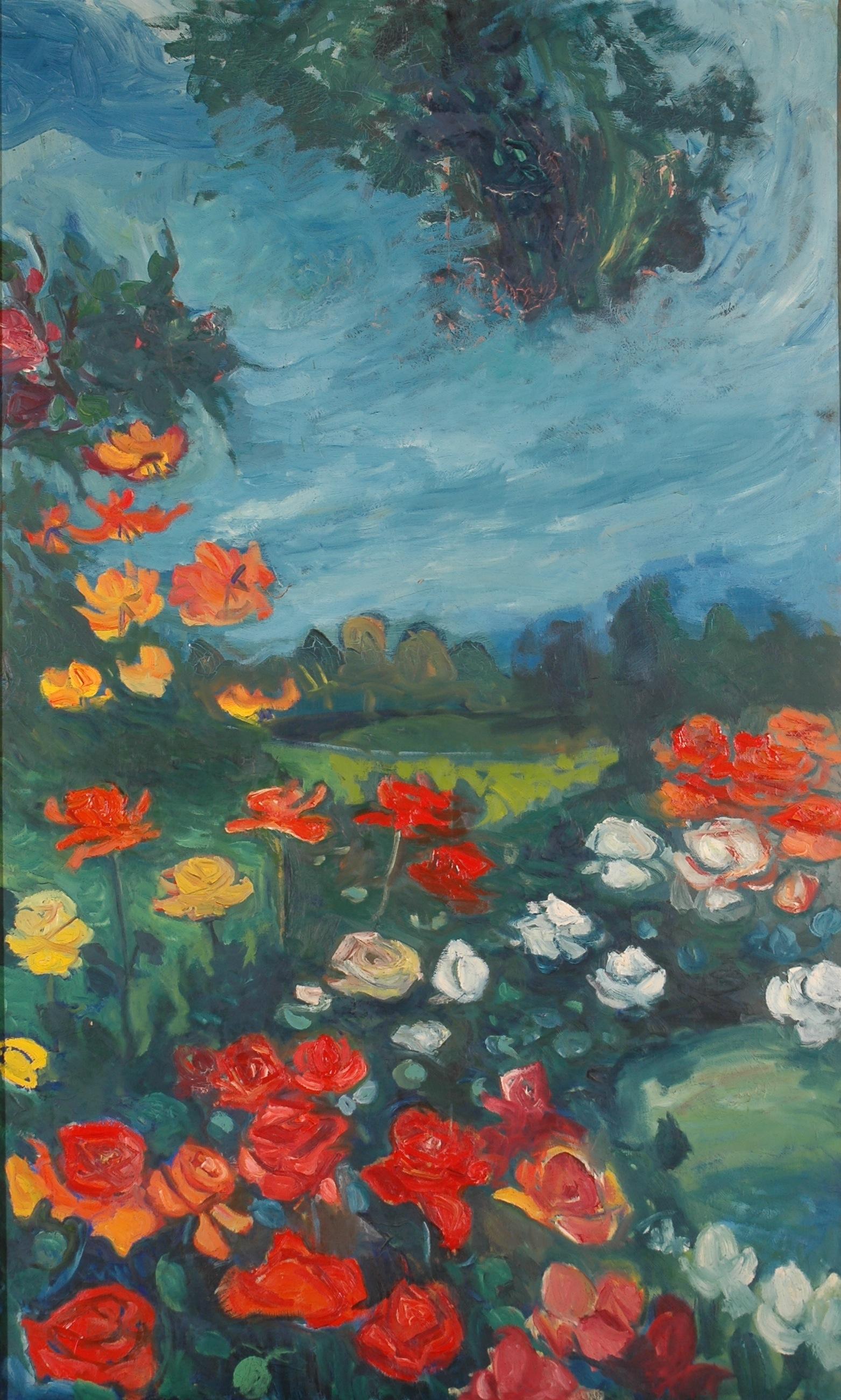 """""""Roseraie sous l'orage"""", huile sur toile, 145 x 87 cm, 1957."""