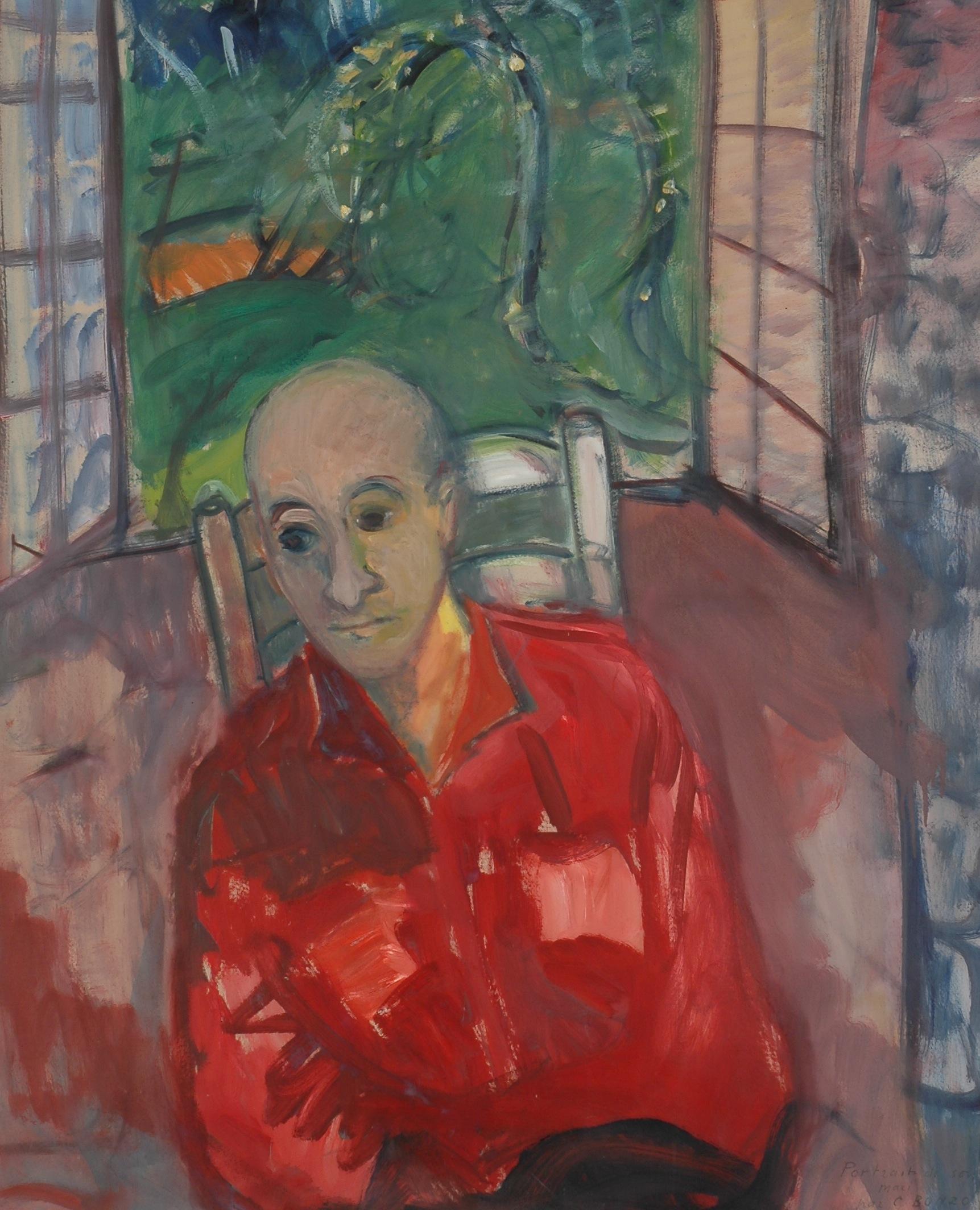 """""""Portrait d'Elie à la fenêtre"""", huile sur carton, 108 x 87 cm, 1965."""
