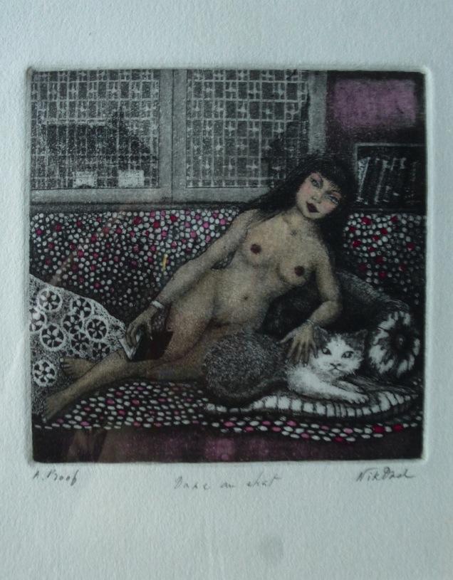 "Patricia Nikdad, ""Dame au chat"", gravure, 2016."