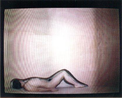 "Yvan Clédat, ""La Chambre rose"", installation vidéo, 2000."